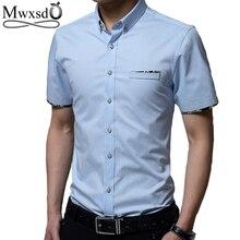 Mwxsd summer Mens short sleeve Shirt Men Slim Fit cotton shirt