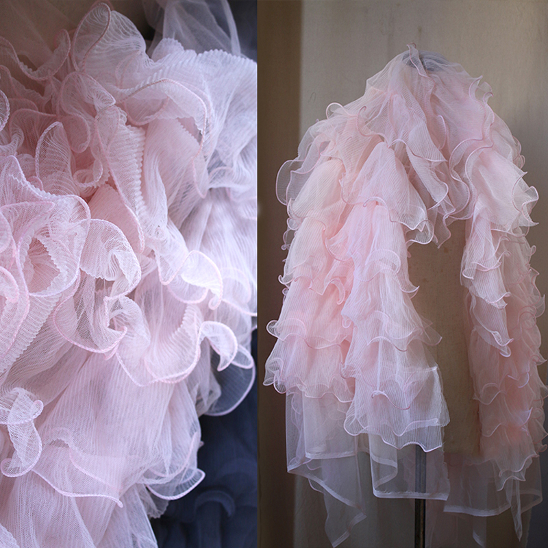 150cm Wide Luxury Pink Ruffle Lace Fabric Sewing Accessory DIY 3D Romantic Wedding Bridal Dubai Dress