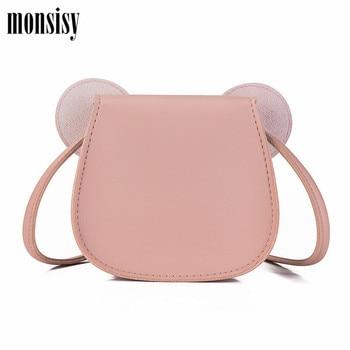 Monsisy 2019 Girl Coin Purse Handbag Children Wallet Small Coin Box Bag Cute Mouse Bow Kid Money Bag Baby Shoulder Bag Purse 3