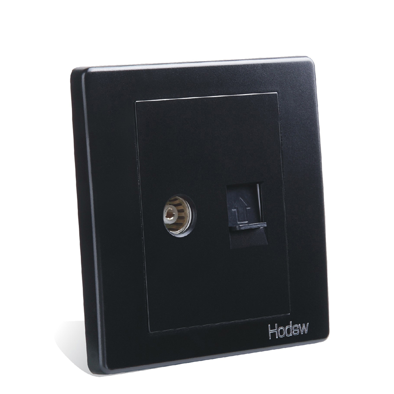 Wall Switch And Socket 86 Type Concealed Black Steel Frame Cable And Cable TV Socket Network With TV Socket PC 220V 10A in Electrical Sockets from Home Improvement