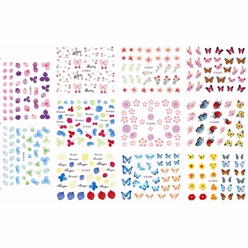11 PACKS / LOT NAIL ART 3D SIMULATION BACK ADHESIVE NAIL STICKER FLOWER LEAF BUTTERFLY CHERRY DAISY E490-E500 image