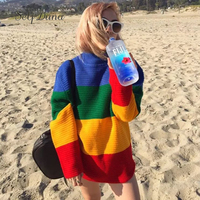 Self Duna 2017 Autumn Winter Women Rainbow Sptried Knitted Sweater Loose Warm Soft Casual Knitting Christmas Jumper Pull Femme