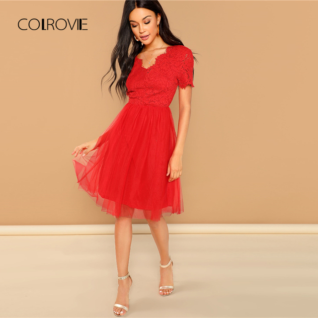 013f83b054 COLROVIE Red Solid V-Neck Lace Up Bodice Christmas Party Dress Women 2018  Autumn Short Sleeve Sweet Sexy Dress Midi Dresses