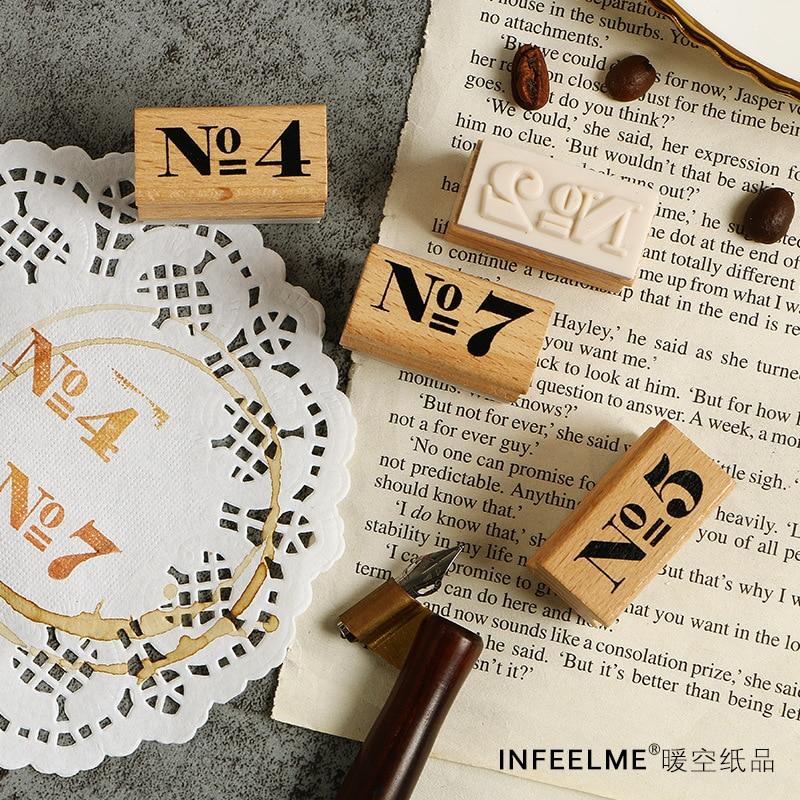 TUNACOCO Inkpad Number  Stamp Seal Sighnet Planner Kawaii Wooden Stamp Bullet Journal DIY Crafts Qt1710118