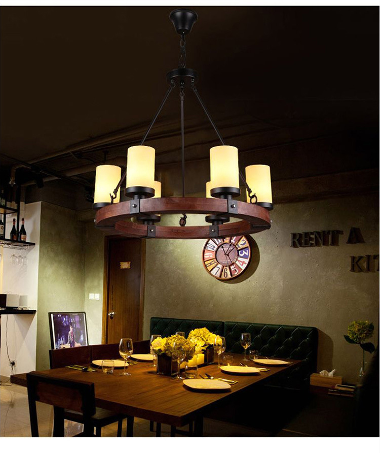 6/8 Heads American Style Personality Retro Cafe Chandelier Wooden light Creative Restaurant Nordic Iron Bar E27 WPL194 contemporary and contracted creative personality retro art glass chandelier cafe restaurant study lamps act the role of milan