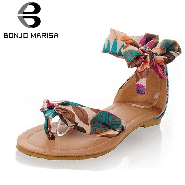 BONJOMARISA 2019 בתוספת גודל 34-52 נשים שטוח פליפ פלופ סנדלי רך מקרית פרח הדפסת קרסול רצועת סנדל נמוך עקבים נעלי אישה