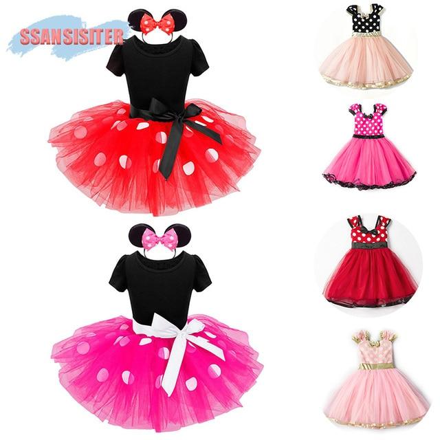 «Минни» для девочек платье-пачка комплекты балетки маус принцессы на Хэллоуин костюм платья в платье в горошек повязка на голову рождественское платье Vestidos
