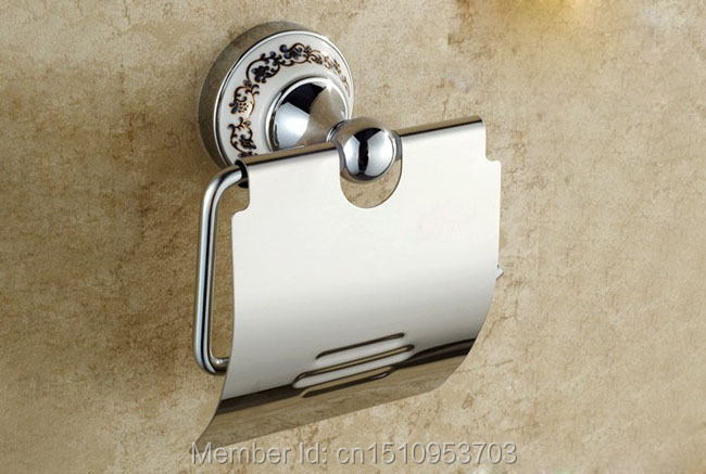 Newly US And Retail Euro Style Chrome Finish Art Painted Brass Toilet Tissue Paper Holder Rack Cover