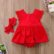 Новое поступление; Рождественский красный кружевной комбинезон с рюшами; платье принцессы для маленьких девочек; детские рождественские праздничные платья; хлопковый костюм для новорожденных