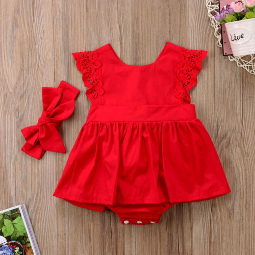 New Arriavl Christmas Ruffle Red Lace Romper Dress Baby