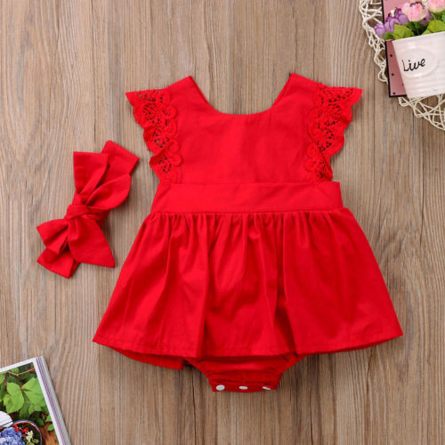 Baby Girls Christmas Ruffle Red Lace Romper Dress