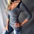 Mujeres Sexy Profundo Del O-cuello de La Camiseta de Manga Larga Slim camiseta Ropa camiseta de las mujeres femme Gasa Ahueca Hacia Fuera el Hombro Tops