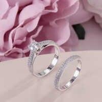 100% Настоящее 925 Серебряное кольцо для женщин, простое двойное штабелируемое ювелирное изделие, свадебные наборы, кольцо, аксессуары для сва...