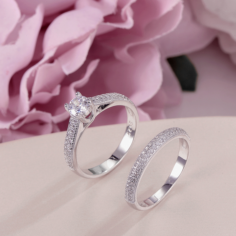 100% <font><b>Real</b></font> <font><b>925</b></font> Silver <font><b>Rings</b></font> <font><b>For</b></font> <font><b>Women</b></font> Simple Double Stackable Fine Jewelry Bridal Sets <font><b>Ring</b></font> Wedding Engagement Accessory image