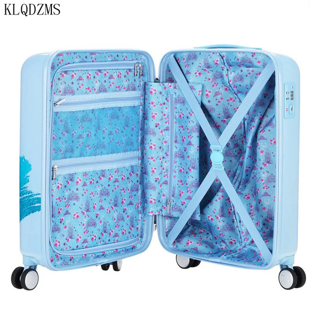 KLQDZMS 20 inches children cartoon ABS+PC rolling luggage trolley suitcase cute snow white travel bag for girls 4