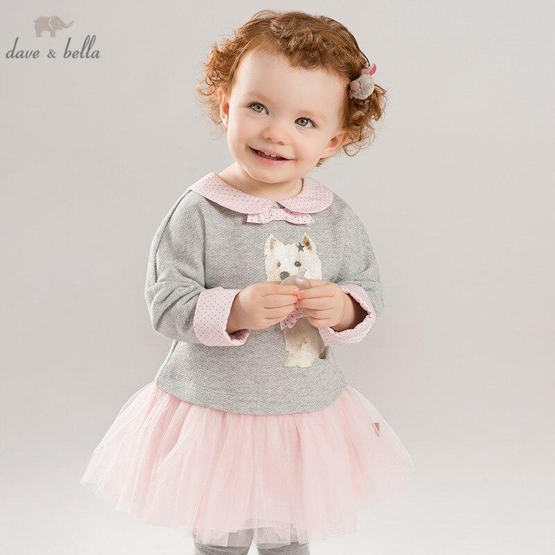 DB8415 dave bella autumn baby long sleeve dress girls mini dress children party birthday clothing infant
