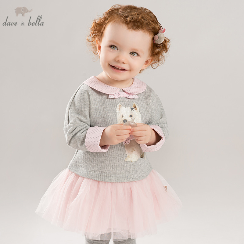 DB8415 dave bella autumn baby long sleeve dress girls mini dress children party birthday clothing infant toddler mesh clothes-in Dresses from Mother & Kids    1