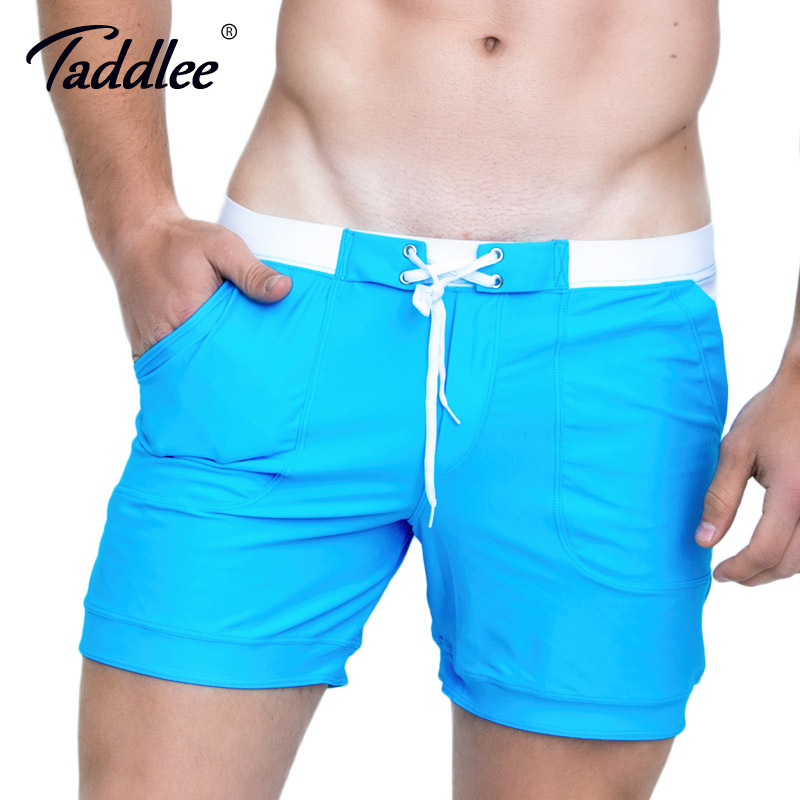 Taddlee Brand Men Swimwear Swimsuits Swim Trunks Sexy Men's Board Beach Boxer Shorts Surfing Solid Basic Plus Size Swim Shorts