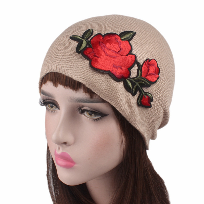 2017 New Rose embroidery knitted wool hat cap Female Unisex Plain Warm Soft Women's   Skullies     Beanies   Knitted Touca Gorro Caps