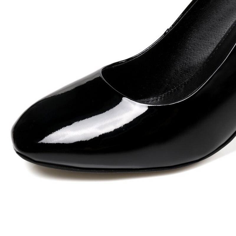 Razamaza Clásicos Punta púrpura Mujer Zapatos Sexy Cuero Negro 40 Gruesas De Bombas Tacones Altos Tamaño Redonda rojo 34 Genuino Oficina Moda p4wzprqA