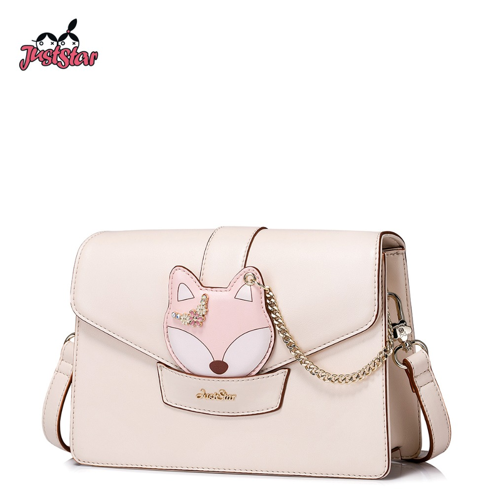 JUST STAR Women PU Leather Messenger Bags Ladies Fresh Chain Shoulder Purse Girl's Leisure Fox Hasp Flap Crossbody Bags JZ4390 just star women s pu leather messenger bags ladies embroidery shoulder purse female chain leisure whale crossbody bags jz4468
