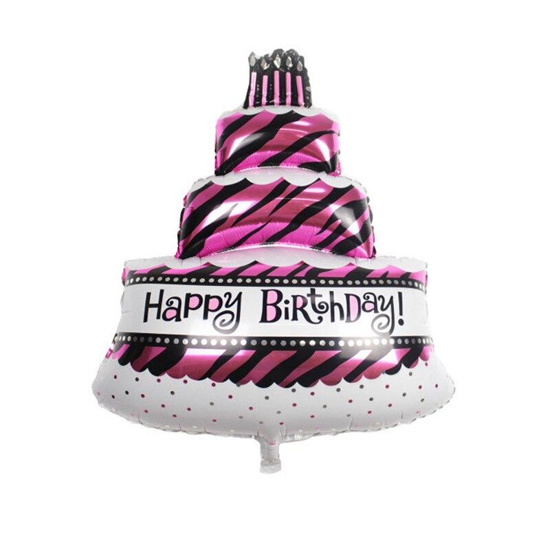 Astonishing 1Pc 100 69Cm 3 Layer Happy Birthday Cake Shape Foil Balloon Funny Birthday Cards Online Overcheapnameinfo