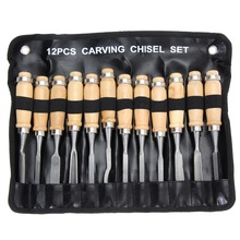 10/12Pcs Professional Manual Wood Carving Hand Chisel Tool Set Woodworking Carpenters DIY Detailed Tools