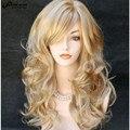 Moda Peluca Rubia con Flequillo Peinado Highlight Ondulado Largo Rizado Peluca Perruque Mujeres Feminina Loira Peruca Peluca Del Partido Sintético