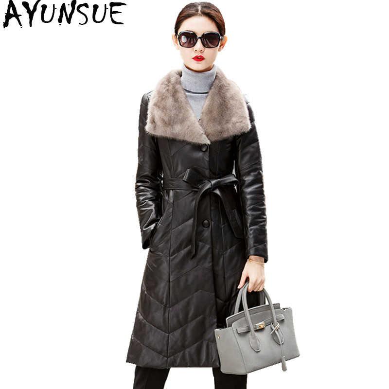 AYUNSUE 2019 куртка из натуральной кожи зимнее пальто для женщин из натуральной овчины пальто с воротником из натурального меха длинные женские пуховики WYQ862