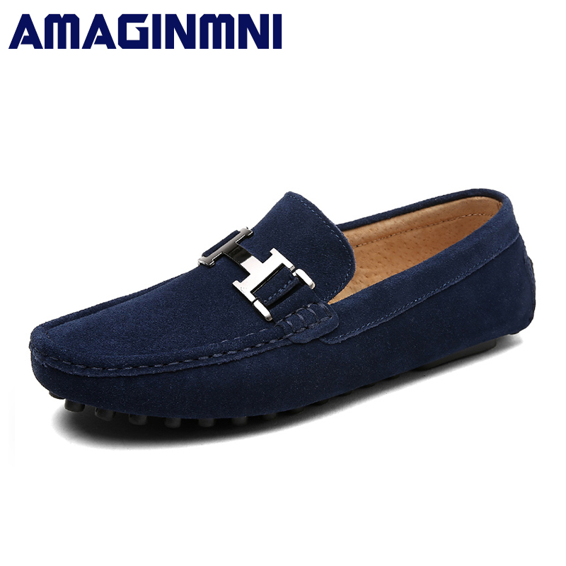 AMAGINMNI Brand New Slip-On casual shoes men loafers spring and autumn mens moccasins shoes genuine leather men's flats shoes pamasen new spring autumn lace up mens loafers fashion breathable men casual genuine leather shoes designers moccasins men shoes