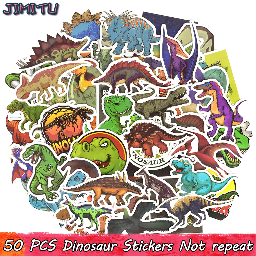 50 PCS Dinosaur Sticker Cartoon Jurassic Animal Educational Toys Stickers For Children DIY Laptop Scrapbooking Luggage Bicycle