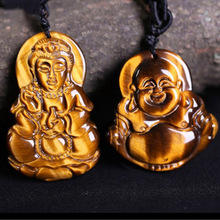 Tigers Eye Stone Pendant Drop Shipping GuanYin Buddha Necklace With Chain Lucky Amulet Fine Jewelry For Women Men Gift недорого