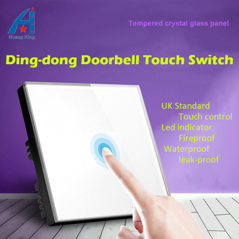 HUANGXING UK Standard, High quality 100W Wired Ding-dong DoorBell Switch ,White or Black Tempered Crystal Glass wall Switch suck uk