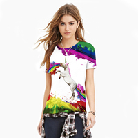 2017 Hot Sale Summer Style T Shirt Fashion Women Floral 3D Rainbow Flying Horse Short Sleeve