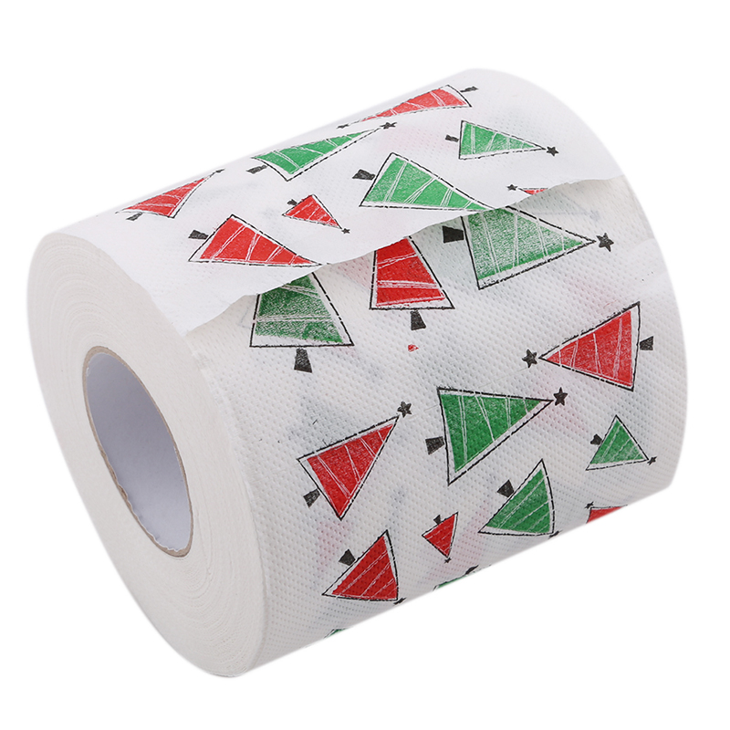 1Roll Santa Merry Christmas Supplies Chirstmas Tree Patterns Toilet Paper Home Bath Living Room Toilet Paper Tissue Xmas Decor