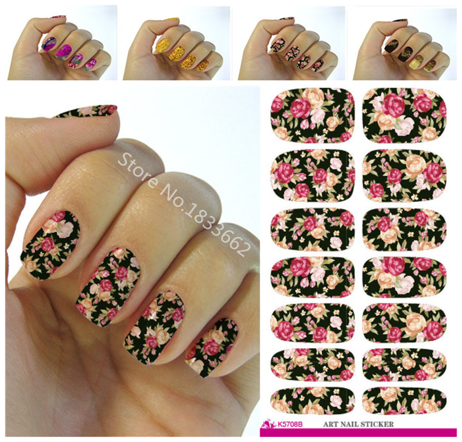 K604 New fashion water transfer foil nail stickers all kinds of nail art design patterns fashion decorative decal