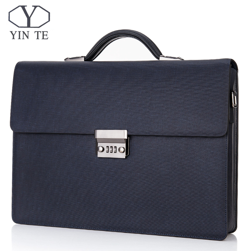 YINTE Men's Leather Briefcase Vintage Formal Business Lawyer Handbag Messenger Shoulder Attache Portfolio Tote Portfolio B8032-5 teemzone top men genuine leather vintage formal business lawyer briefcase messenger shoulder attache portfolio tote brown t0581