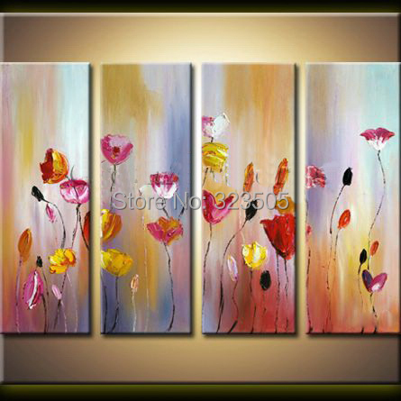 4 piece canvas wall picture abstract moden handmade decorative flower font b Knife b font oil