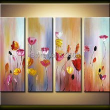 4 piece canvas wall picture abstract moden handmade decorative flower Knife oil painting on canvas for living room  decoration