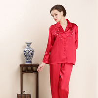 CEARPION New Suzhou Embroidery Flower Sleepwear Women Daily Home Clothes Chinese Red Pajamas Bride Wedding Party Night Wear