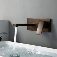 Bronze Bathroom Brass Wall Mounted Square Basin Faucet Single Handle Mixer Tap Hot & Cold Water Diverter Tap Modern Sink Faucet