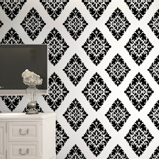 HaokHome Vintage Floral Damask Peel And Stick Wallpaper Diamond Black White Self Adhesive Contact Paper