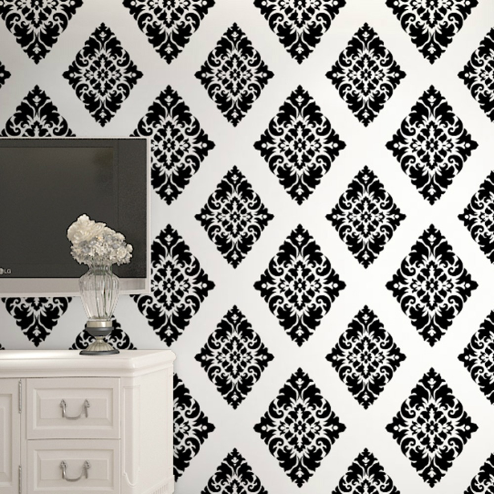 Haokhome Vintage Fl Damask Wallpaper Self Adhesive Diamond Black White L And Stick Contact Paper Living Room Home Decor In Wallpapers From