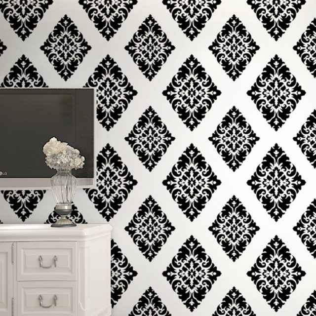 HaokHome Vintage Floral Damask Wallpaper Self Adhesive Diamond Black White Peel And Stick Contact Paper Living Room Home Decor