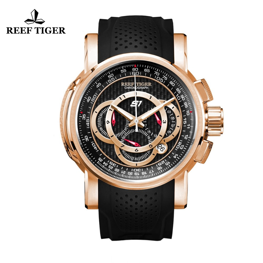 Reef Tiger/RT Designer Sport Watches for Men Rose Gold Quartz Watch with Chronograph and Date reloj hombre 2018 RGA3063
