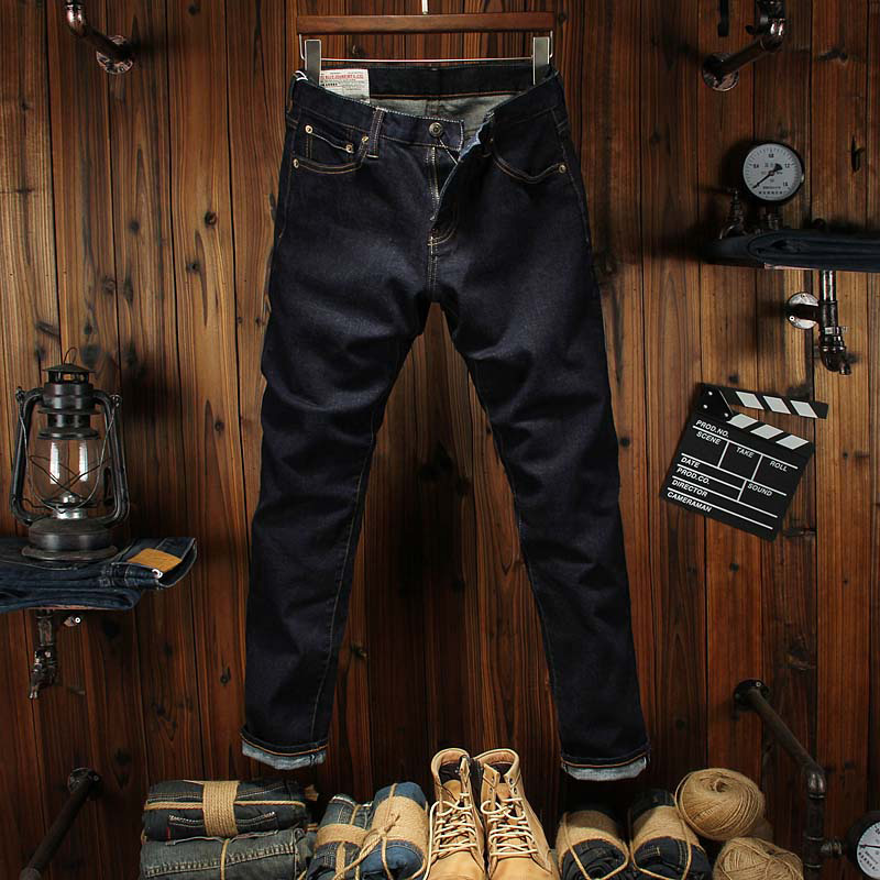 High Grade Top Quality Classic Men Jeans Business Style Straight Slim Solid Color Denim Elastic Jeans Men Simple Casual Pants