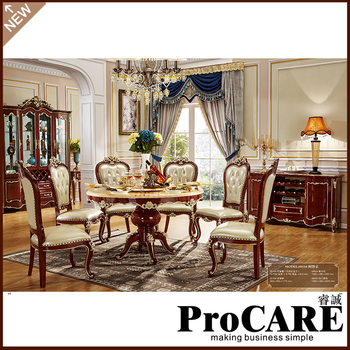 4Pcs Dining Room Set Furniture Unique Design Brand And High Quality Carving Style Table