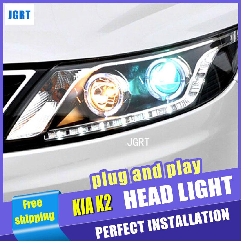 Стайлинга автомобилей для Kia К2 фара Ассамблеи Рио 2011-2014 LED объектив фар DRL двойным Луч H7 с HID комплект 2 шт.