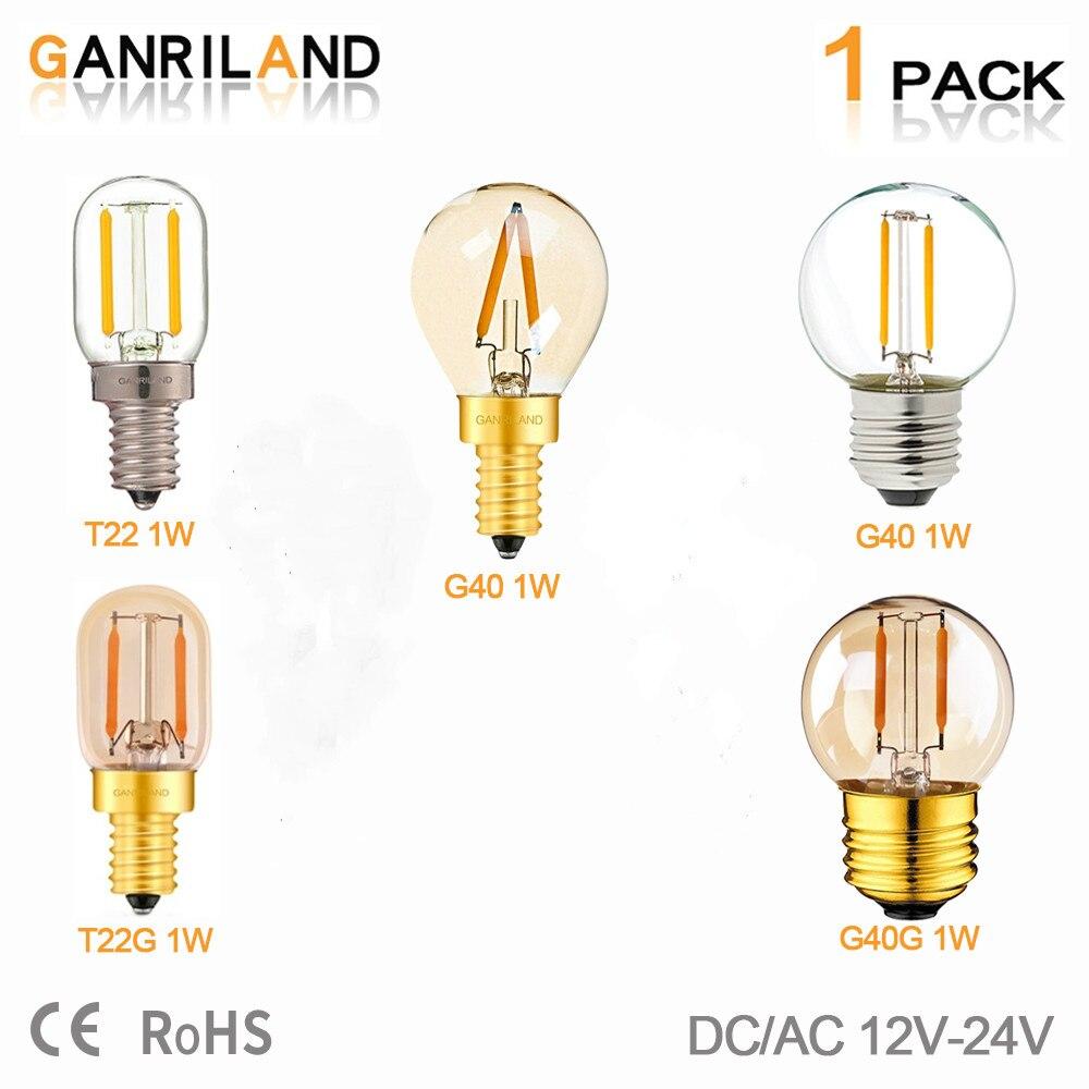 GANRILAND 12V-24V LED Light Bulb G40 6W E26 E27 Led Bulb Daylight White T22 Low Voltage 1W E12 E14 Led Lamp 12V Warm White 2200K