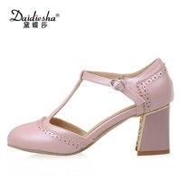 Daidiesha Şık sapatos Parti Akşam ayakkabı yüksek topuk ayakkabı Zarif Dantel dekorasyon T-kayışı Toka Şeker renk kadın Pompaları